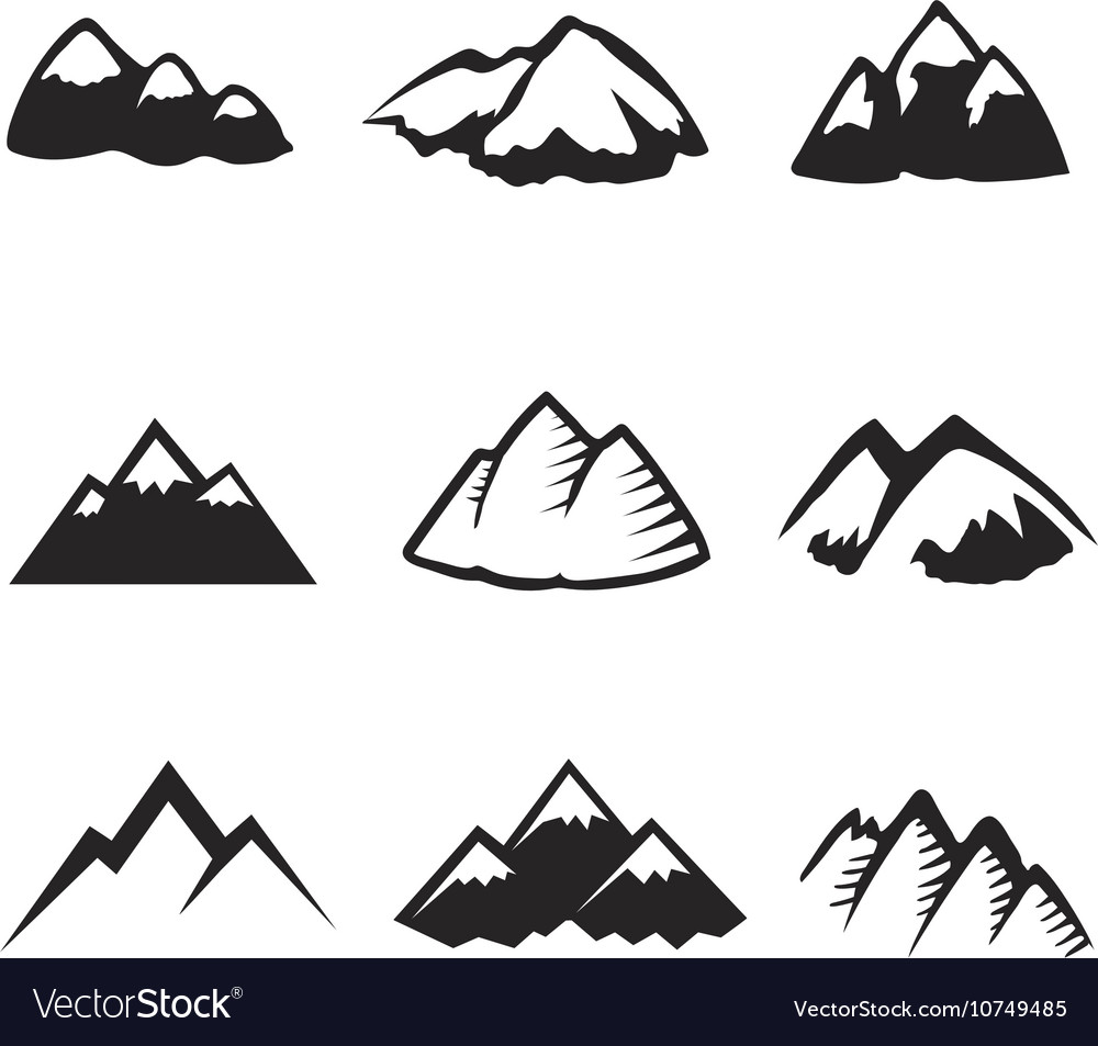 Mountains icons isolated Tourism silhuettes