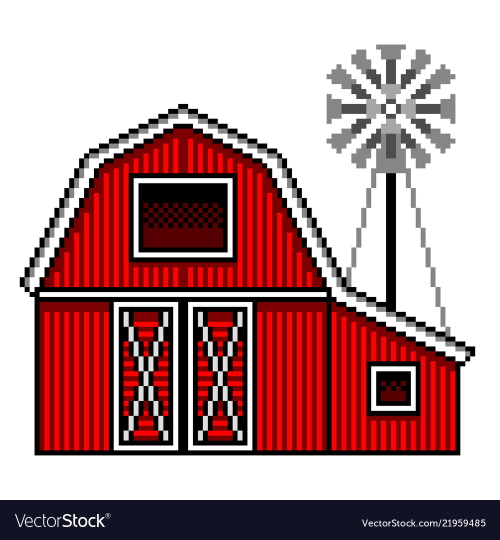 Pixel art american farm detailed isolated