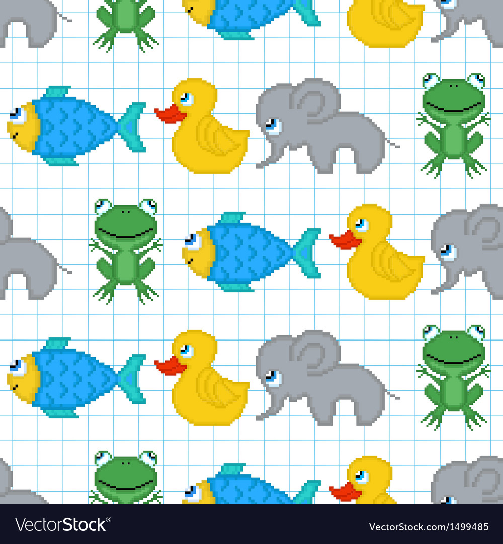 Seamless pattern with pixel animals