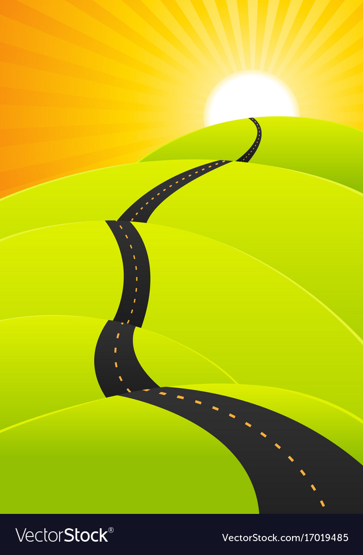 Summer travel - long road journey Royalty Free Vector Image