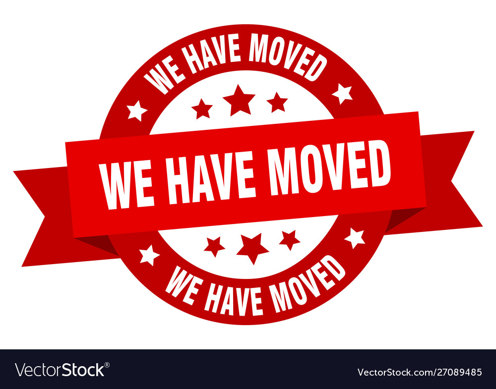 We have moved ribbon we have moved round red sign