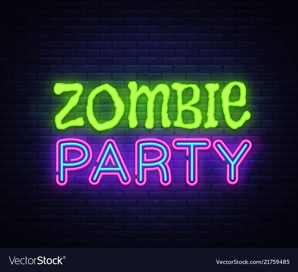 Zombie party text halloween neon sign