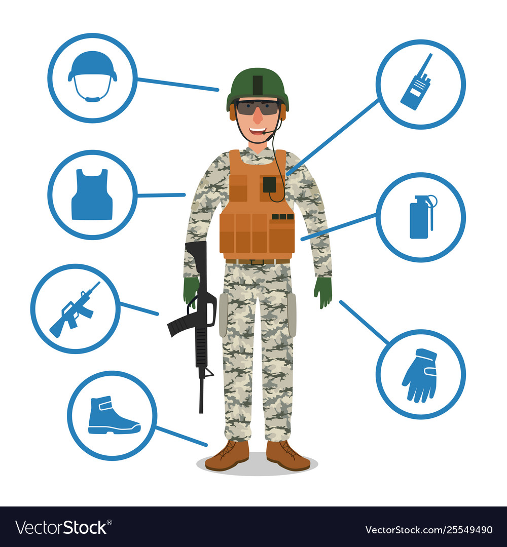 Army soldier with military equipment helmet radio