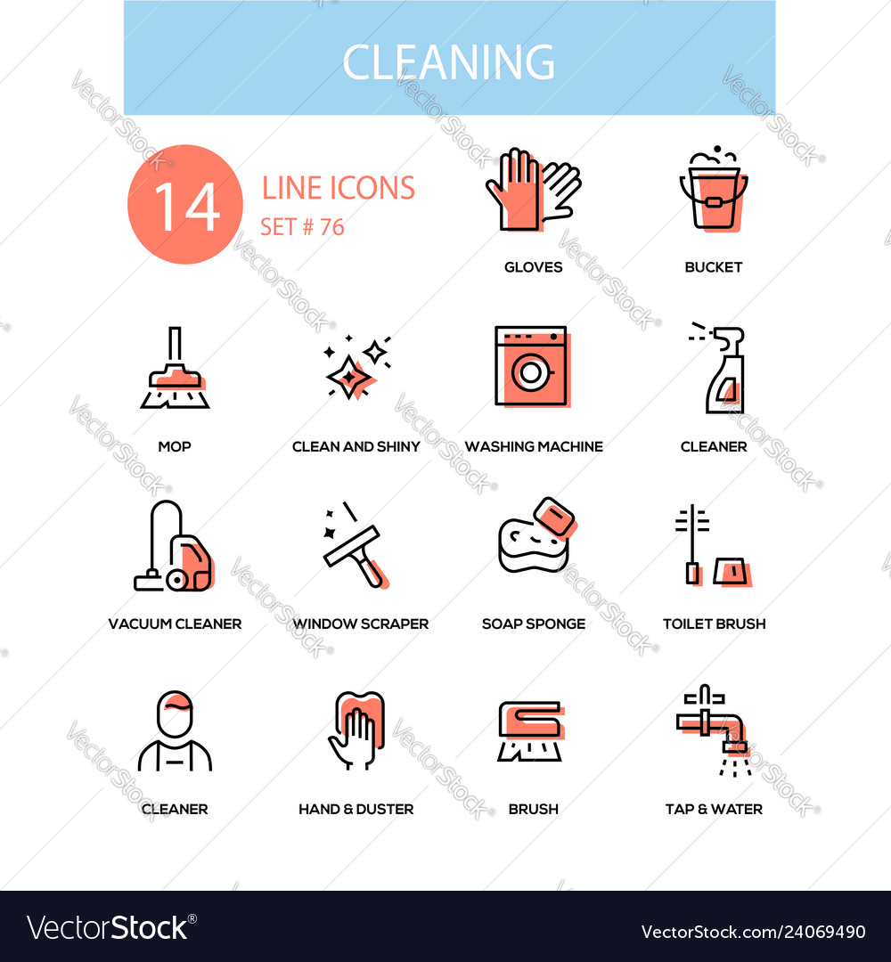 Cleaning service - line design style icons set