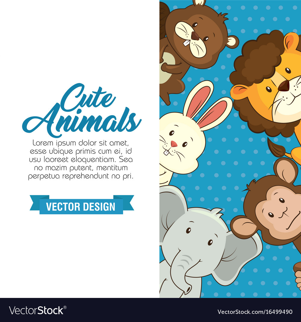 Cute animals baby shower card