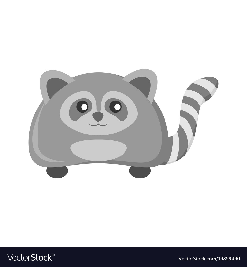 Cute grey raccoon animal vector image