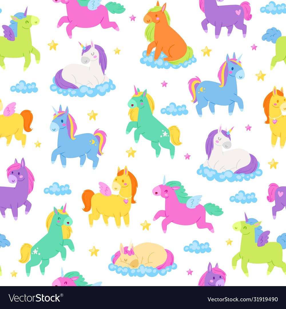Cute unicorns seamless pattern fantasy magic