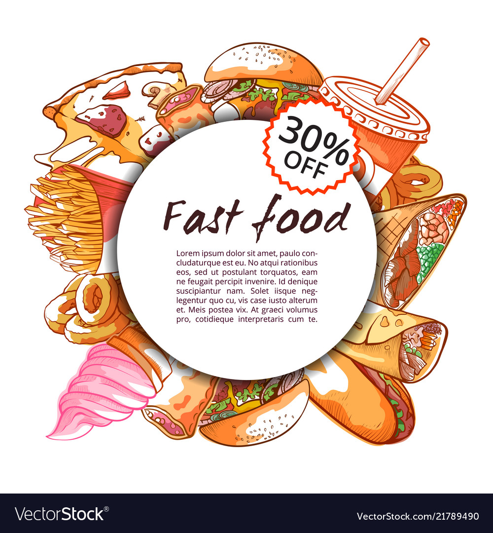 Fast food round banner on white background