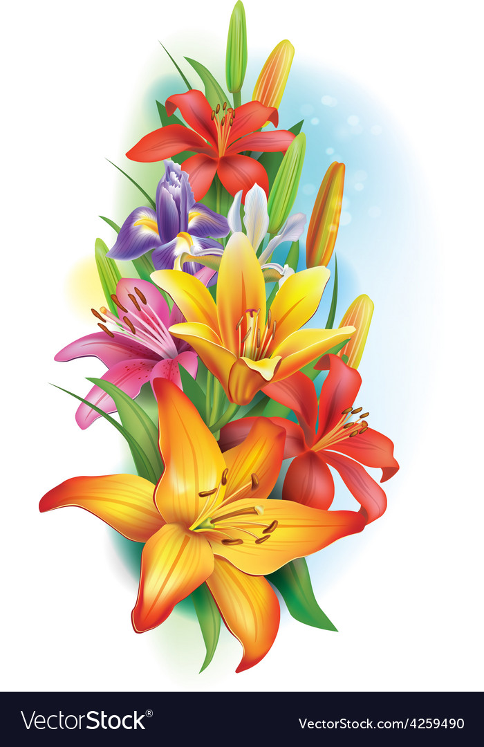 Garland of lilies and irises flowers