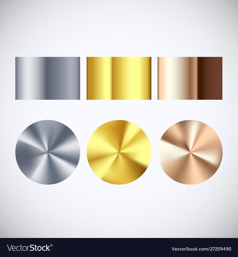 Golden silver and bronze radial gradient set
