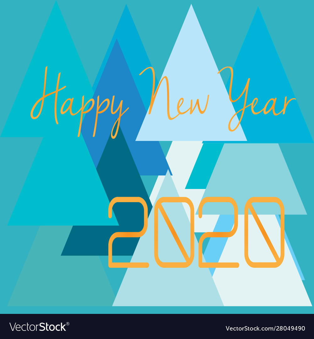 Happy-new-year-2020-shape-view vector image
