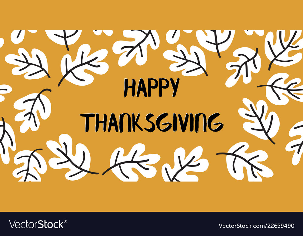 Happy thanksgiving text with doodle leaves