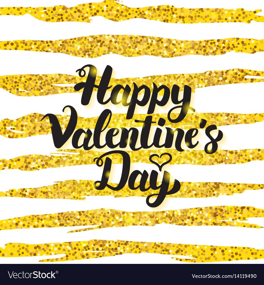 Happy valentine day handwritten card vector image