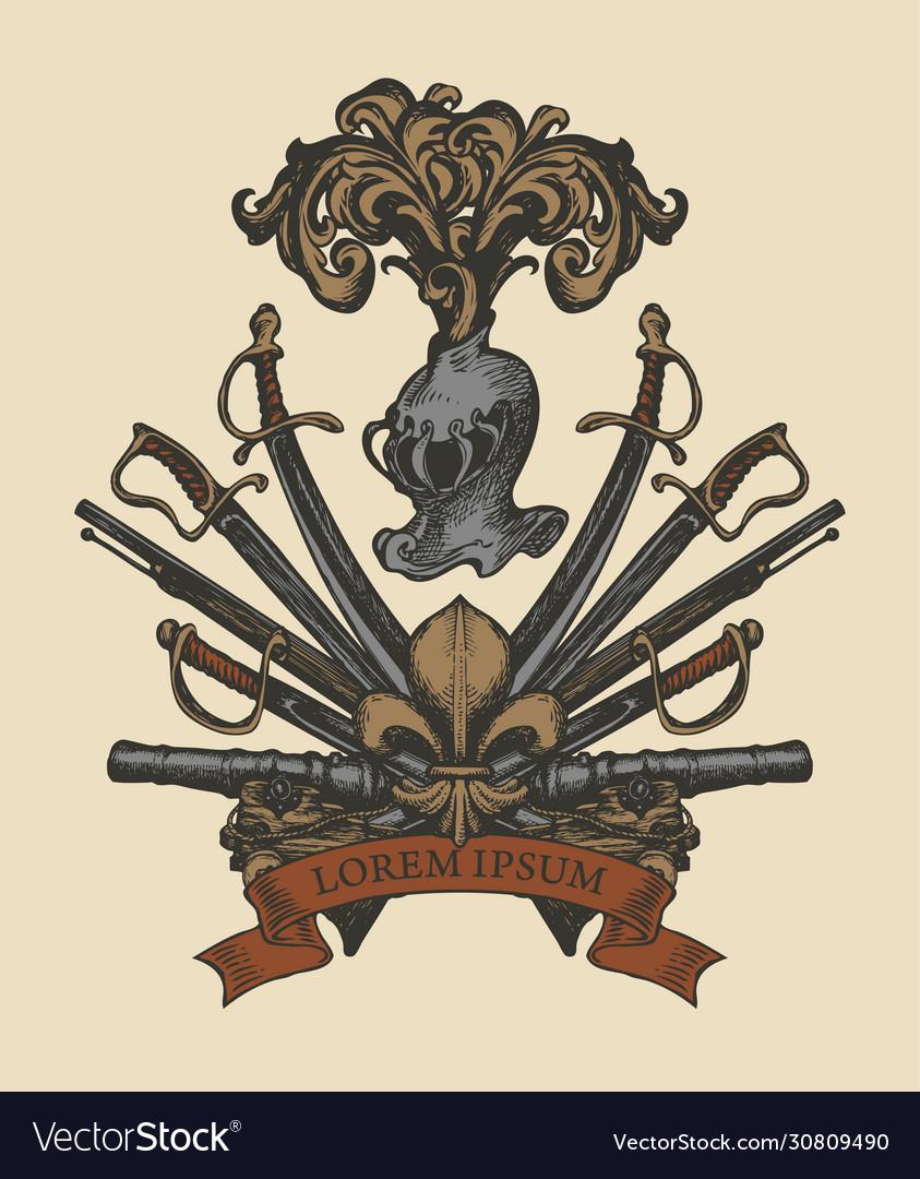 Medieval heraldic coat arms in vintage style