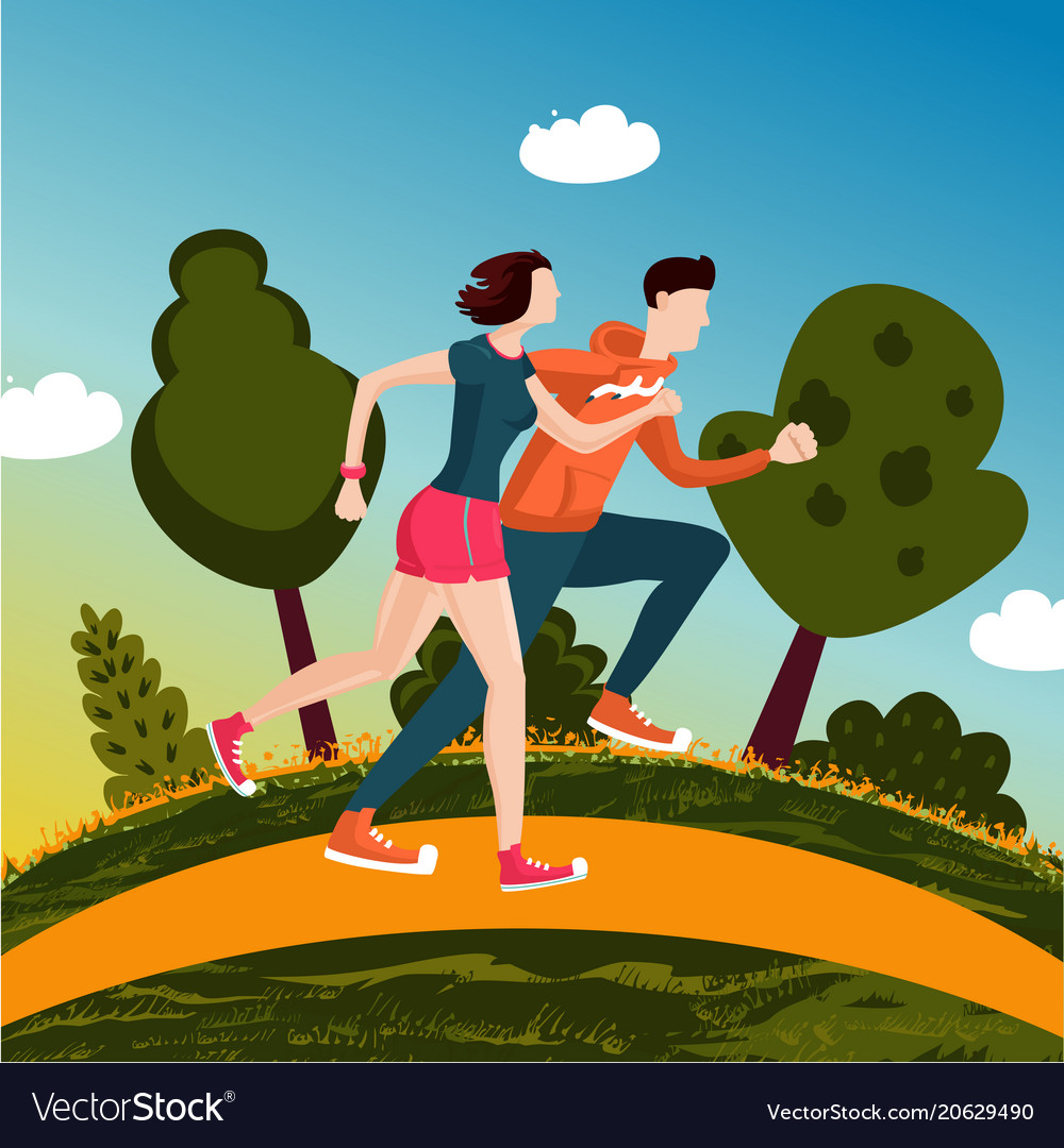 Running couple people run in a park man and