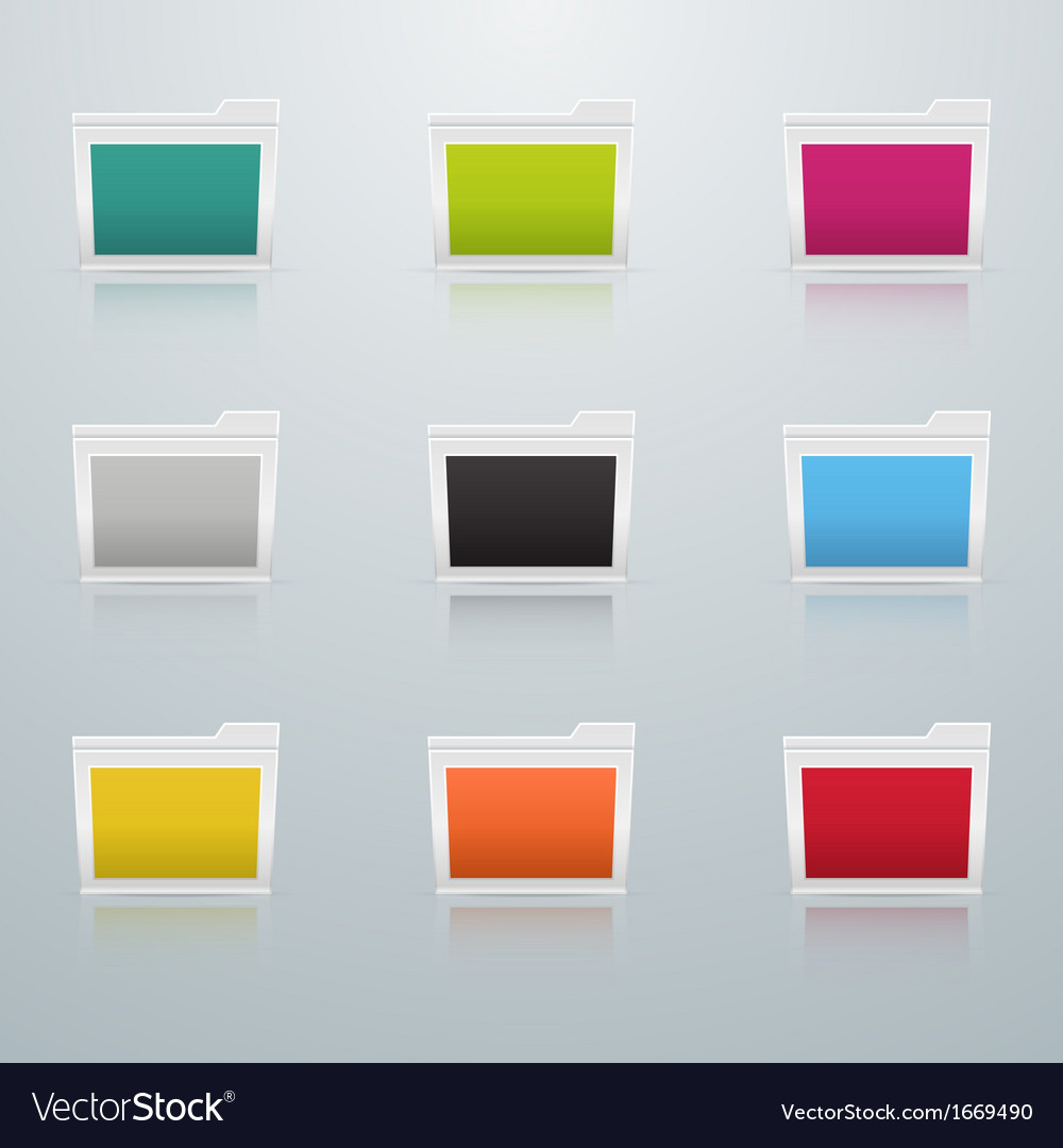 Set of Colored Folders in Perspective