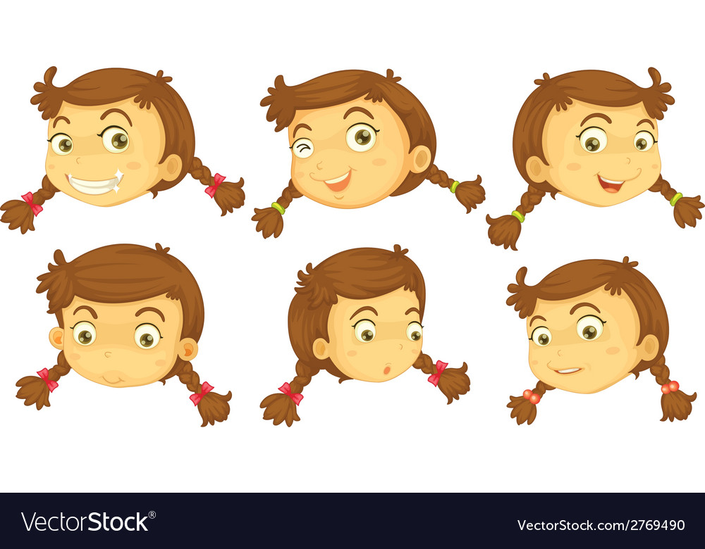 variations of a girls faces royalty free vector image