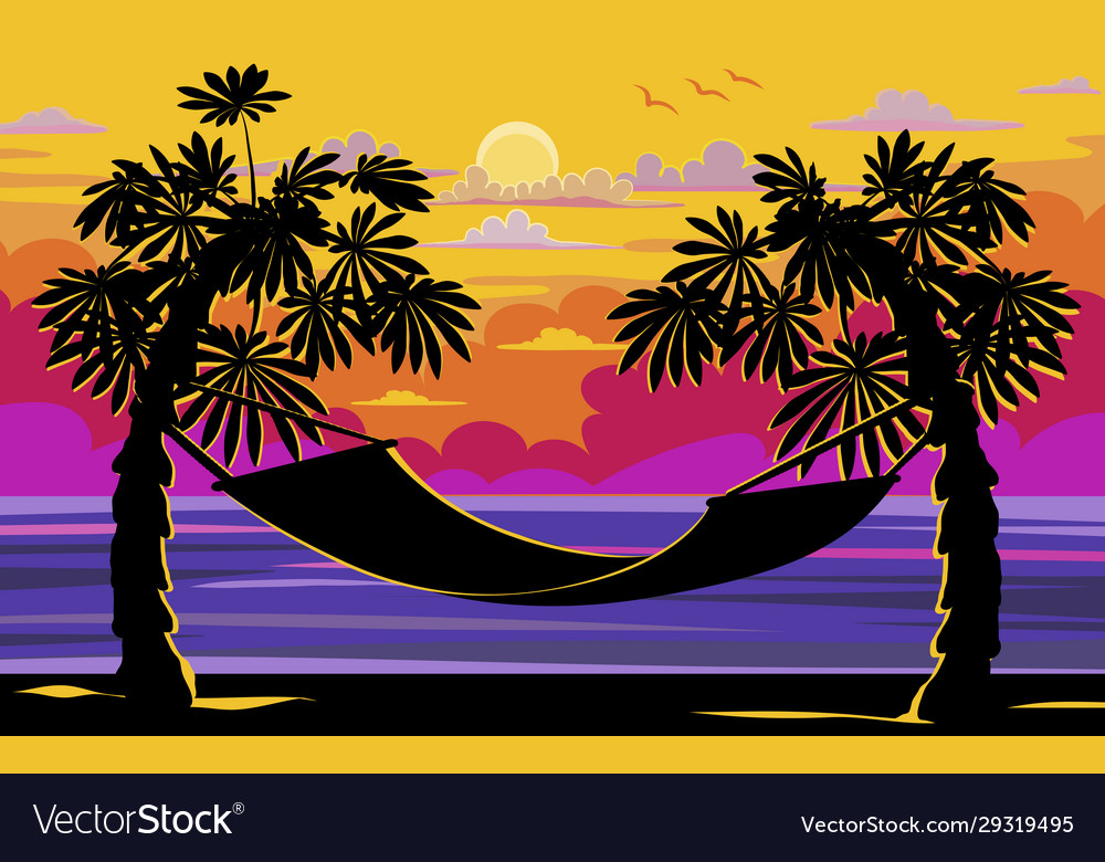Beautiful sunset sunrise with palm trees and