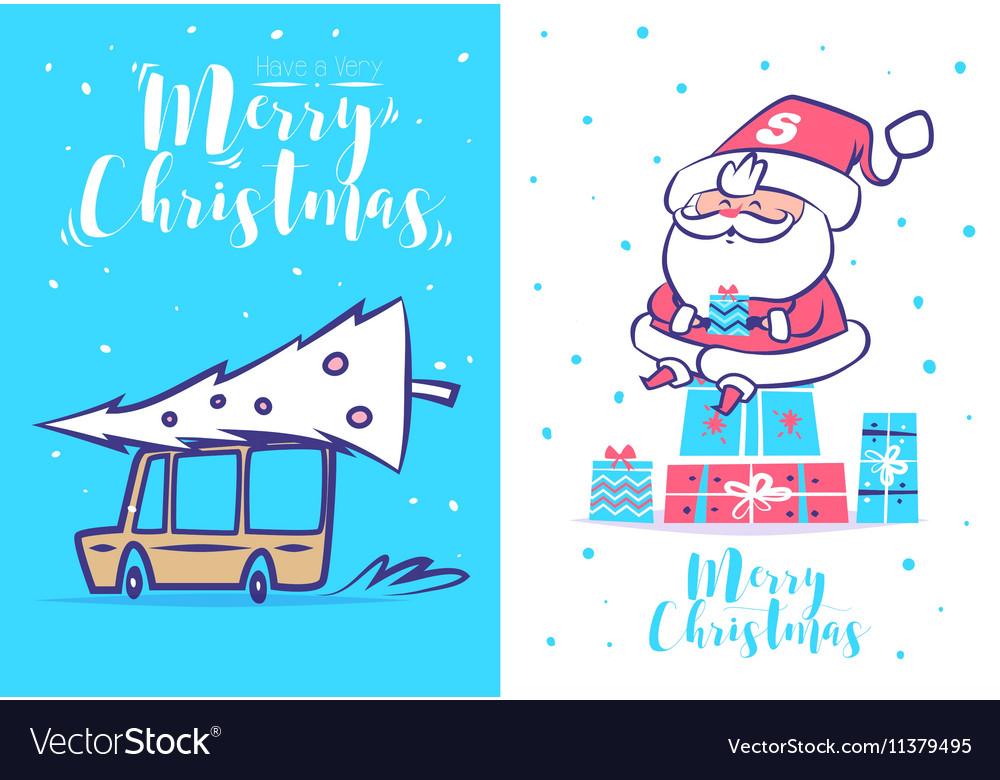 Funny santa set Christmas greeting card