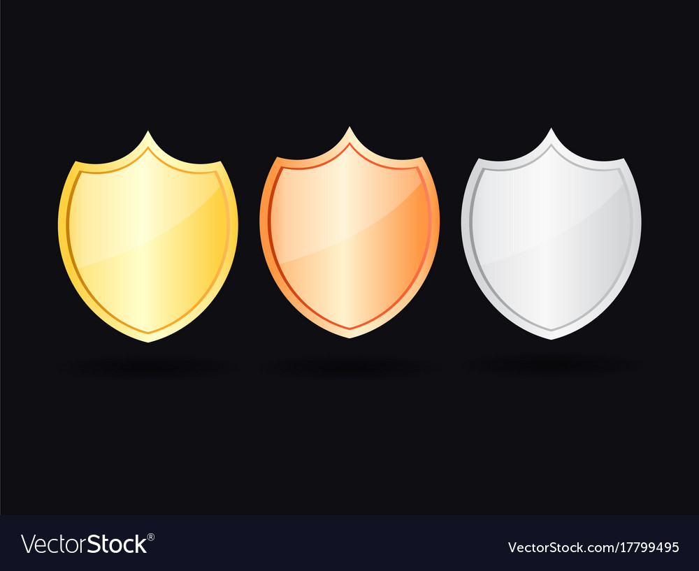 Gold bronze and silver shield