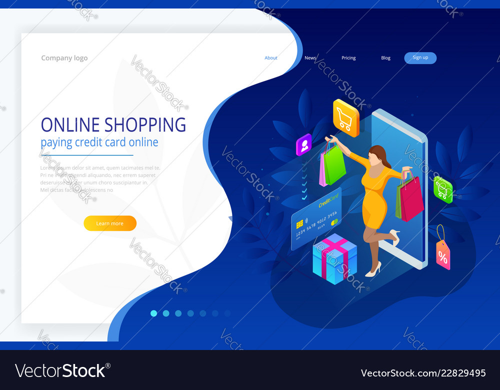 Landing page template of shopping online concept