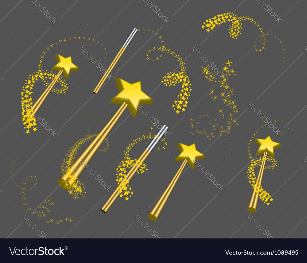 Magic wand set vector image
