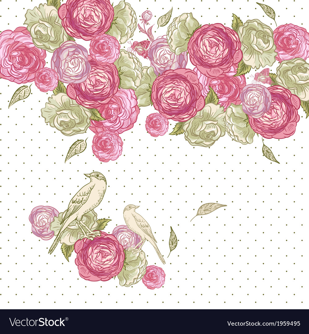 Rose Background with Birds and Butterflies
