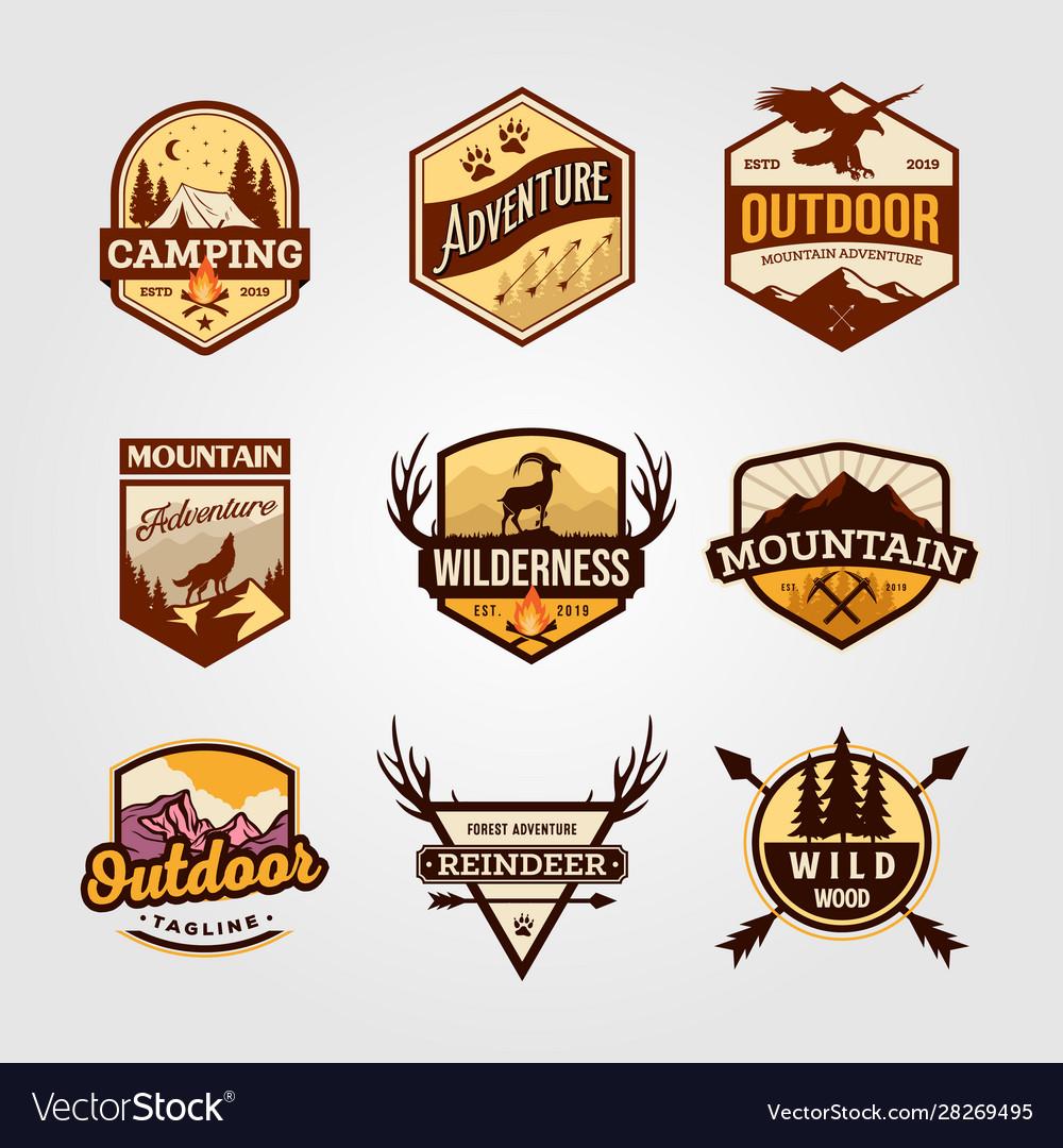 Set outdoor adventure vintage logo emblem