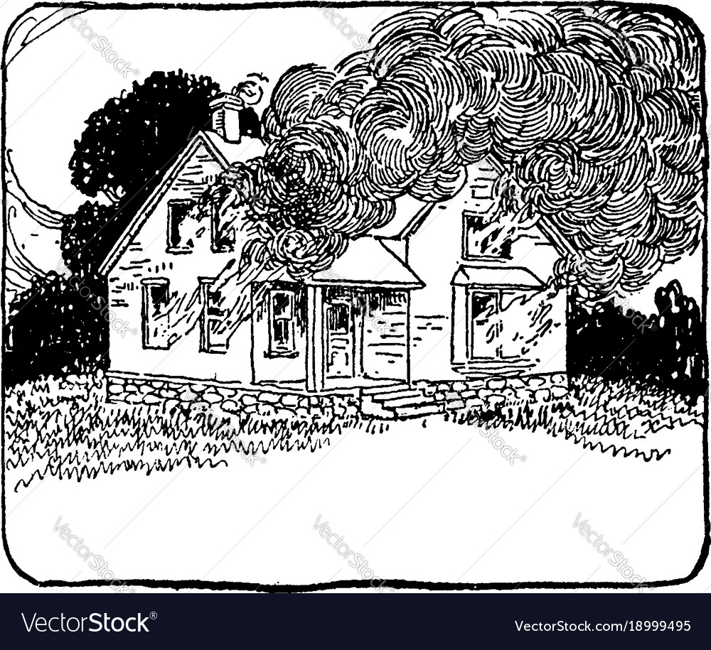 Two storey house on fire vintage
