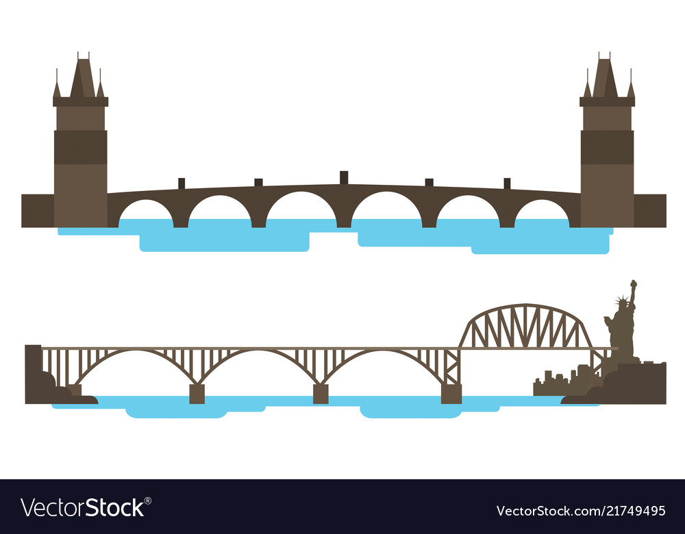 Vintage bridge across the river