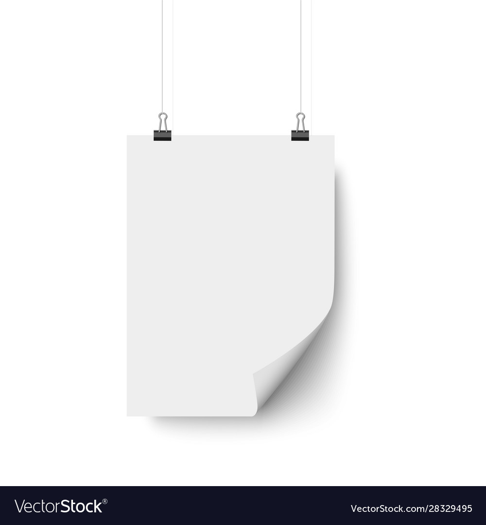 White blank paper poster hanging with bent corner