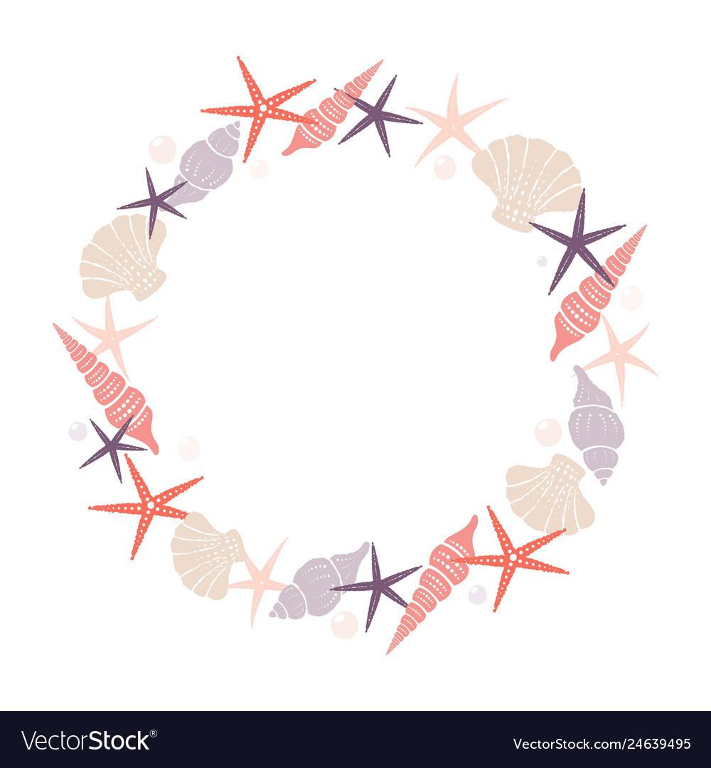 Wreath of marine elements isolated image