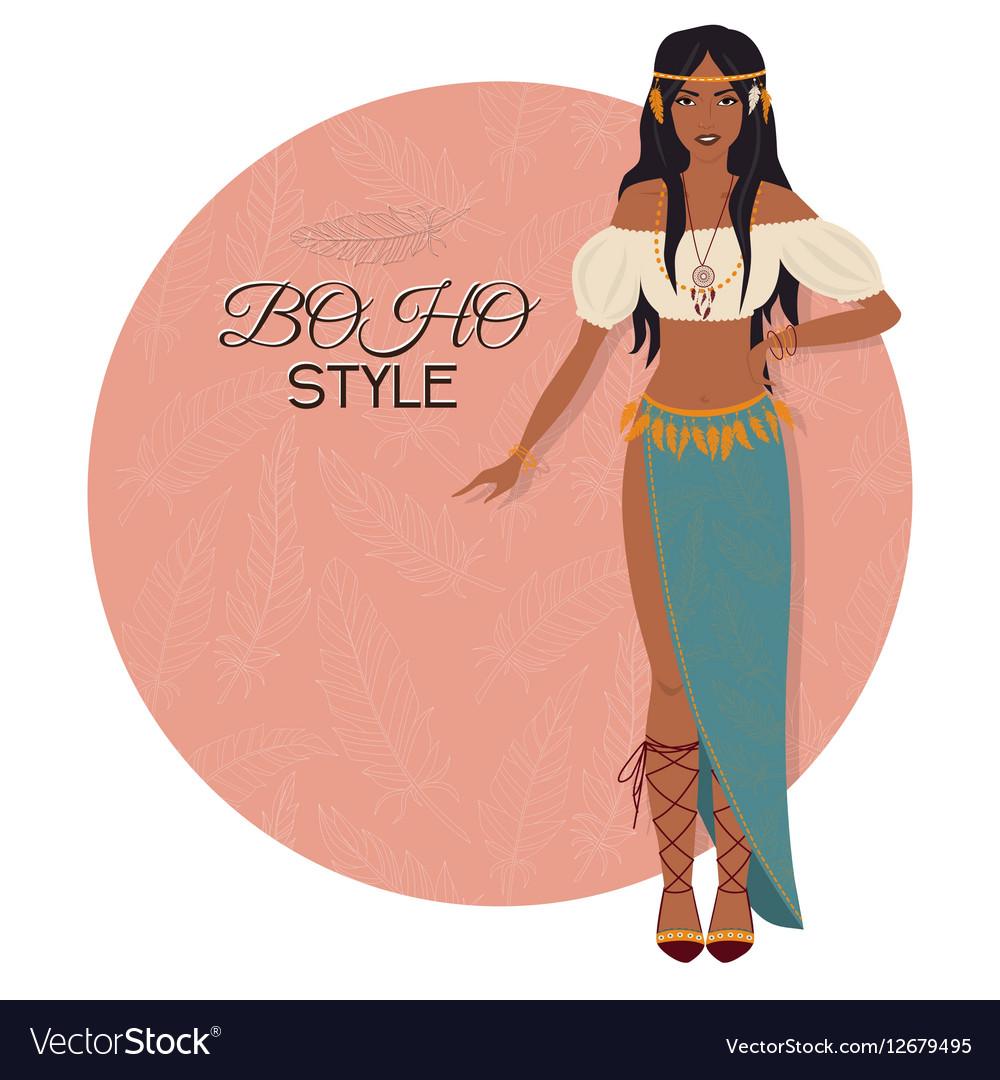 Young beautiful woman Boho style fashion girl