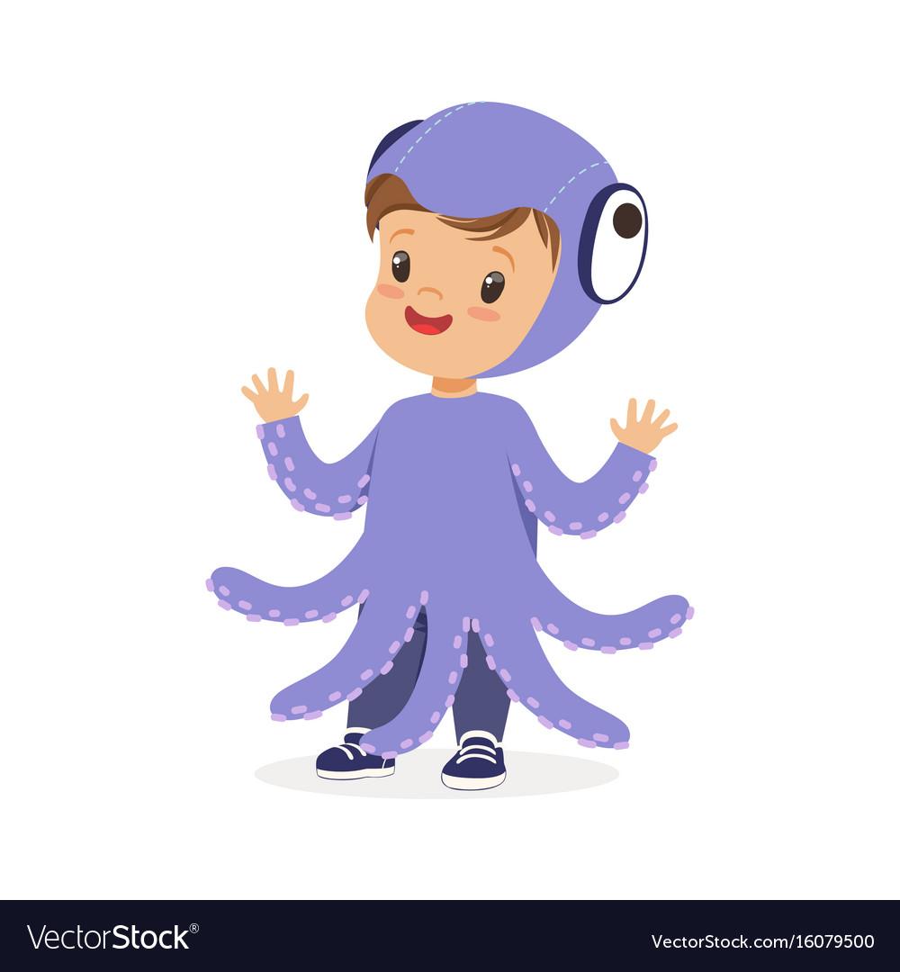 Cute happy little kid dressed as a purple octopus vector image