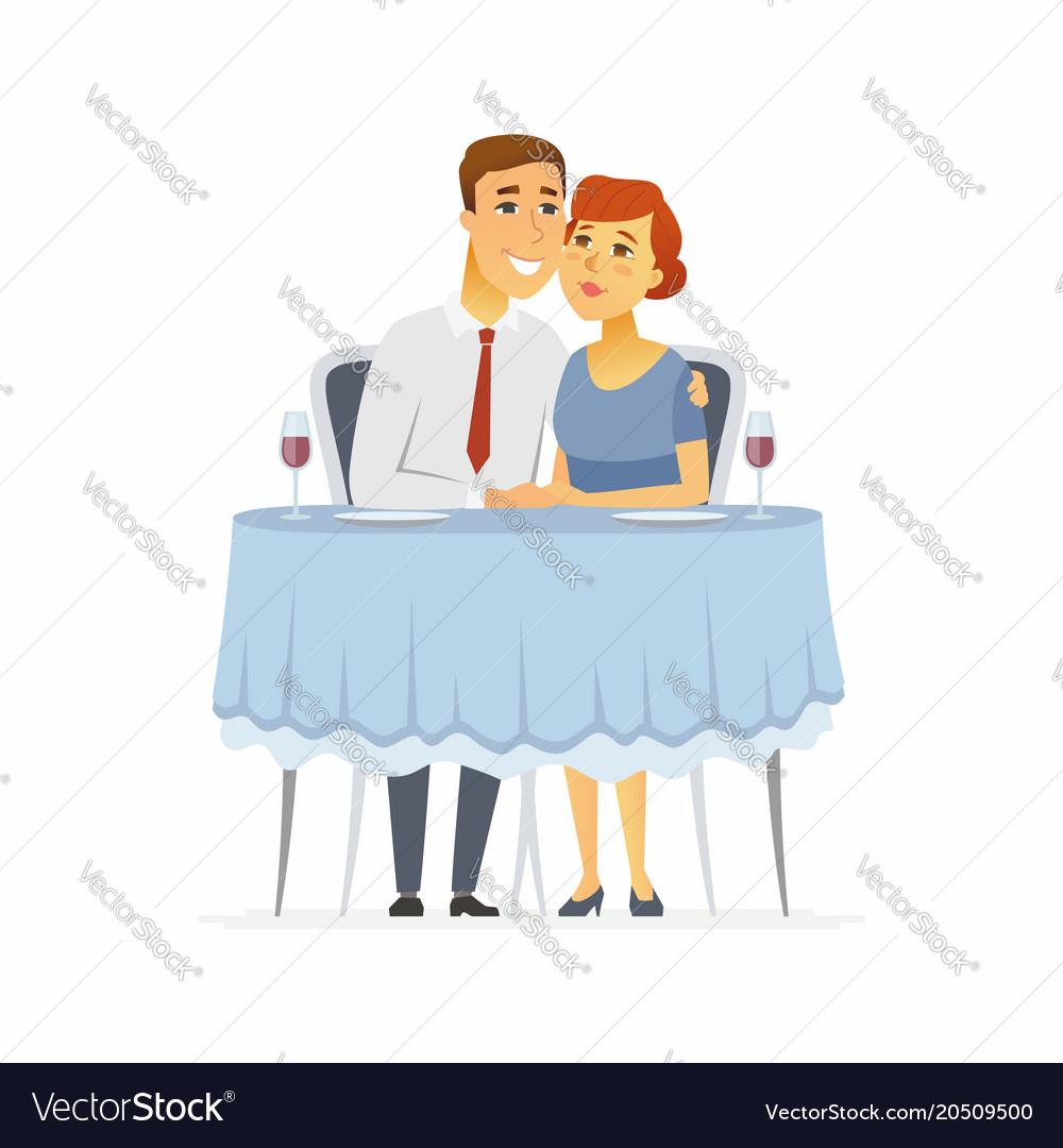 Happy Couple In A Restaurant Cartoon People Vector Image