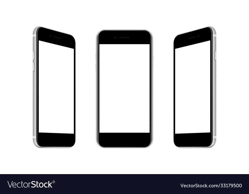 Mobile phones with front and side views