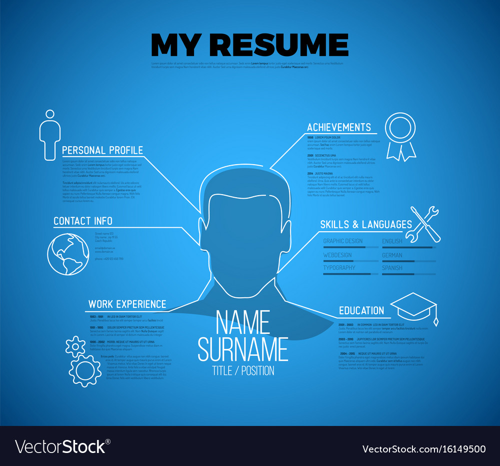 Original minimalist blueprint cv resume template vector image malvernweather Images