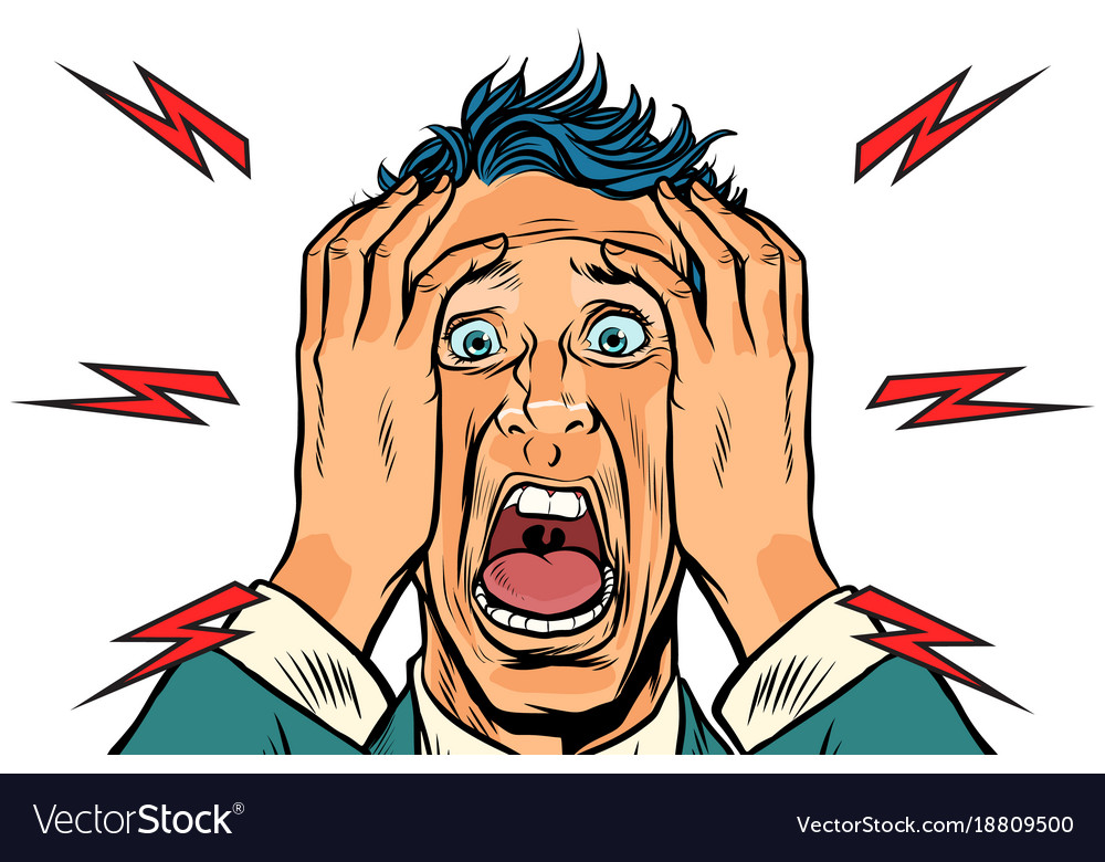 Screaming man isolated on white background