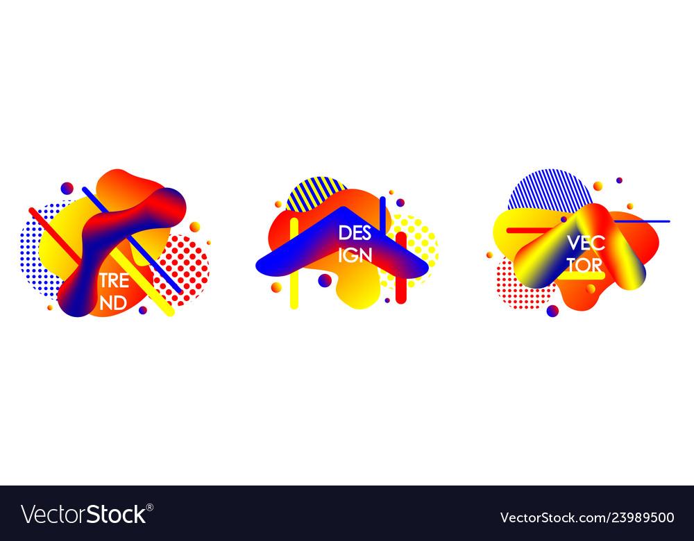 Set of abstract liquid shape flat geometric