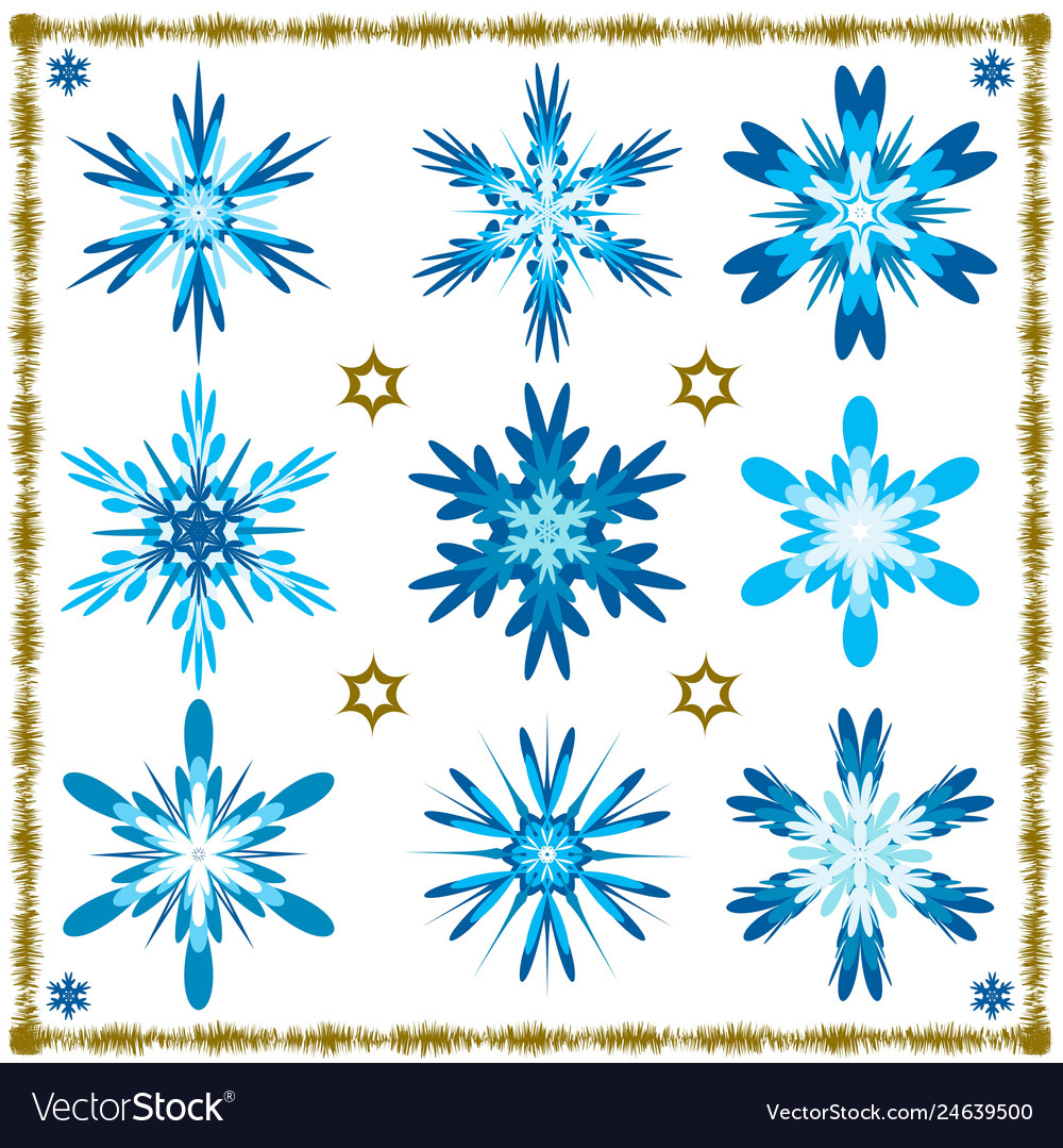 Set of nine isolated snowflakes isolated