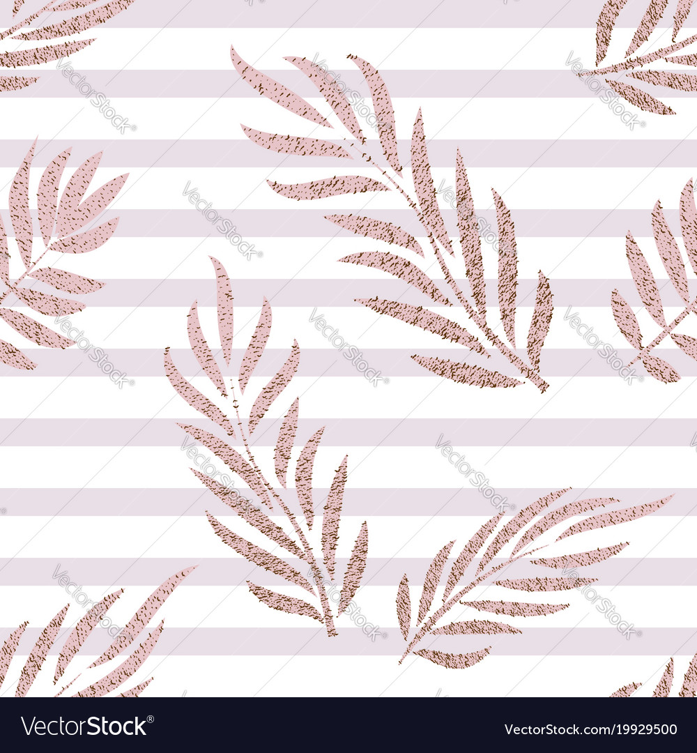 Striped rose gold tropical leaves seamless pattern