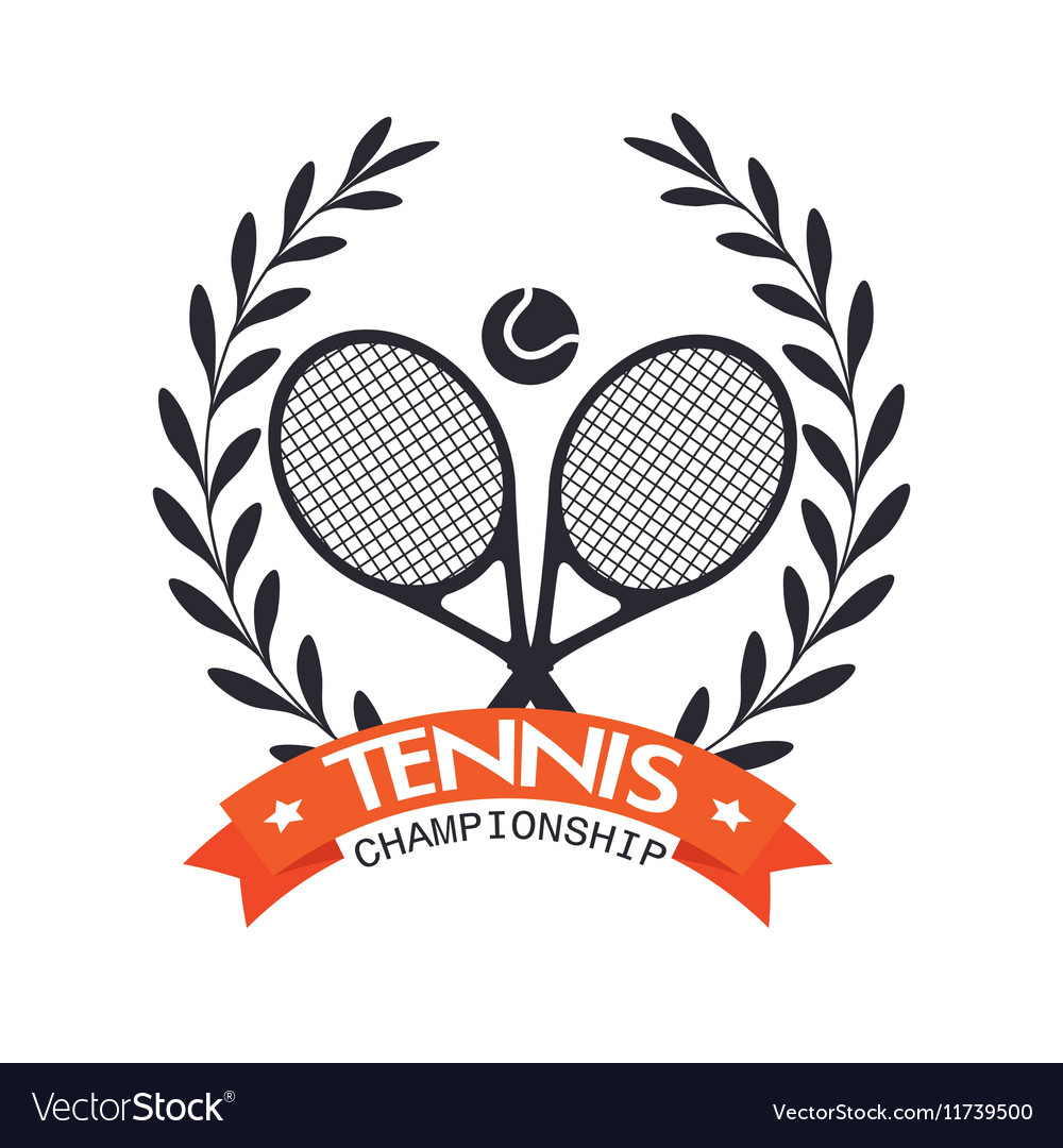Tennis championship rackets ball label graphic