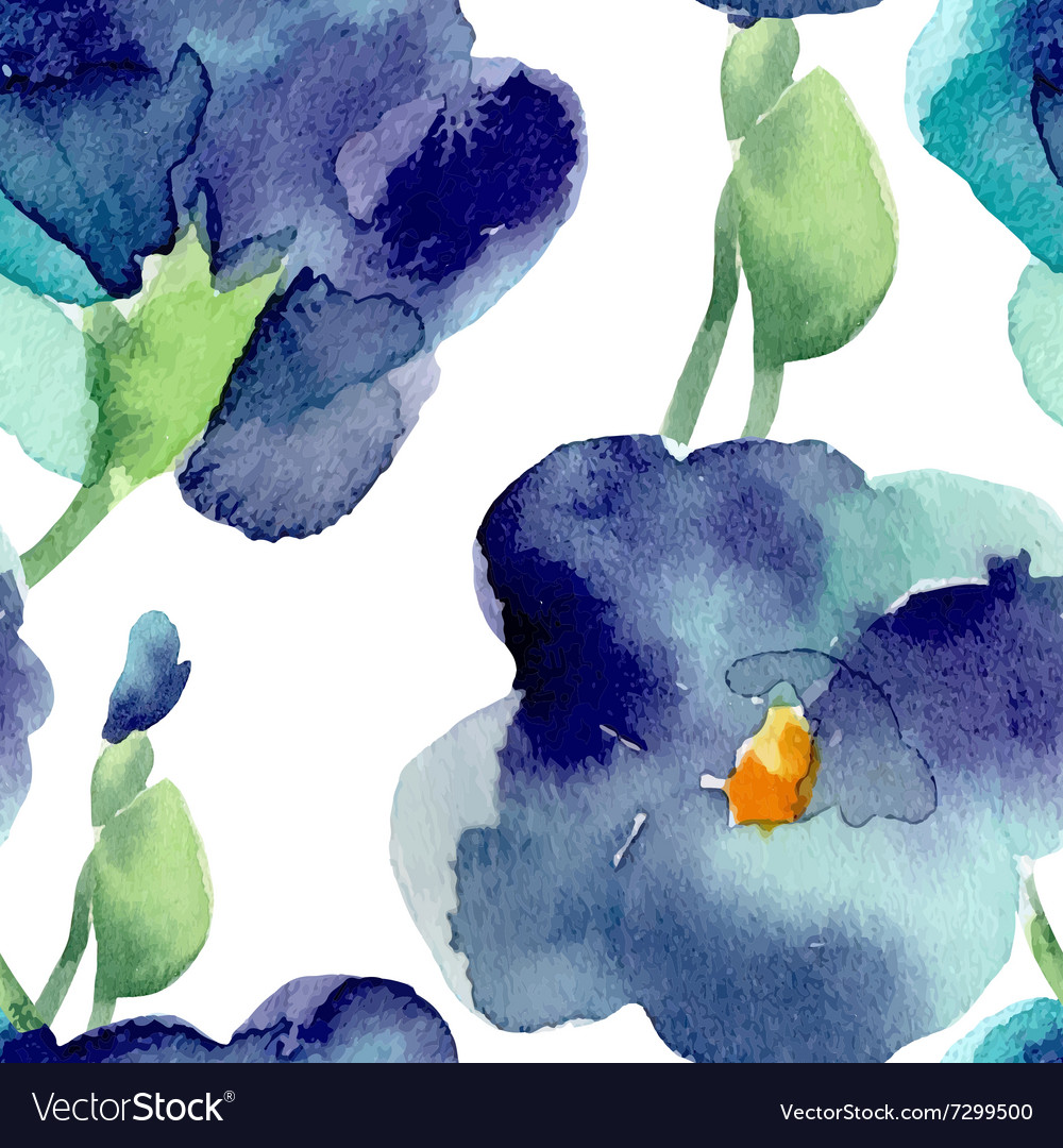 Watercolor of violet flowers seamless pattern