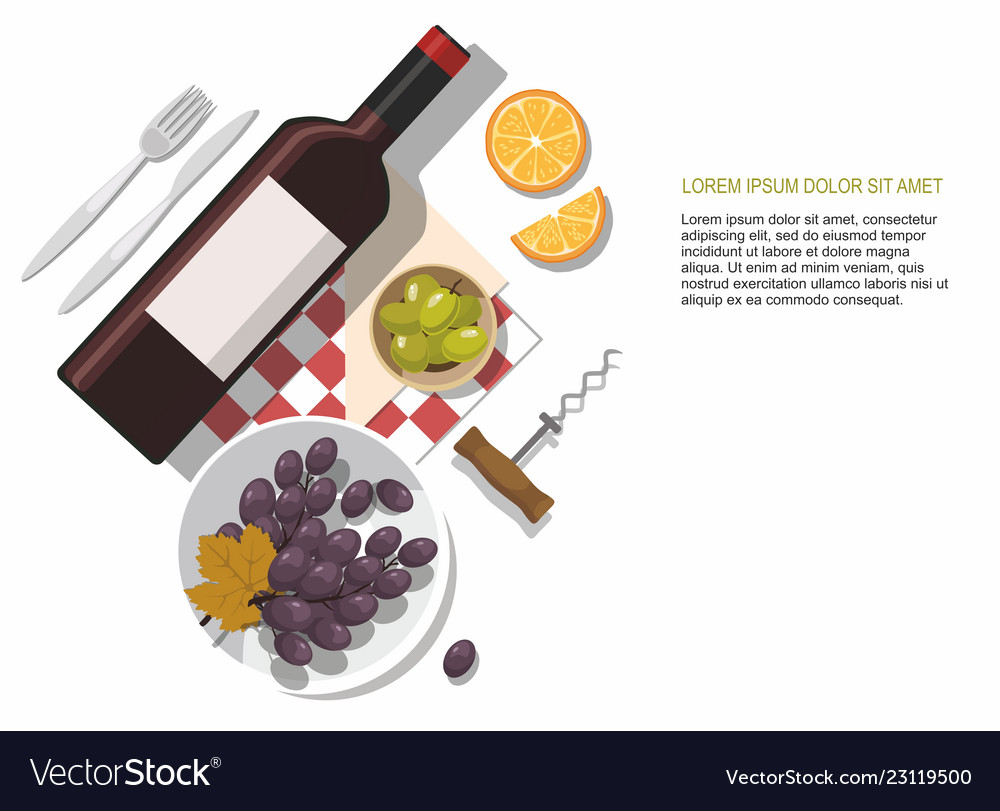 Wine glass wine bottle olives and grapes