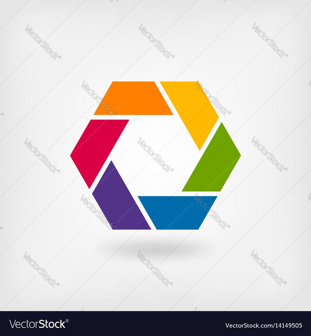 Abstract symbol rainbow hexagon