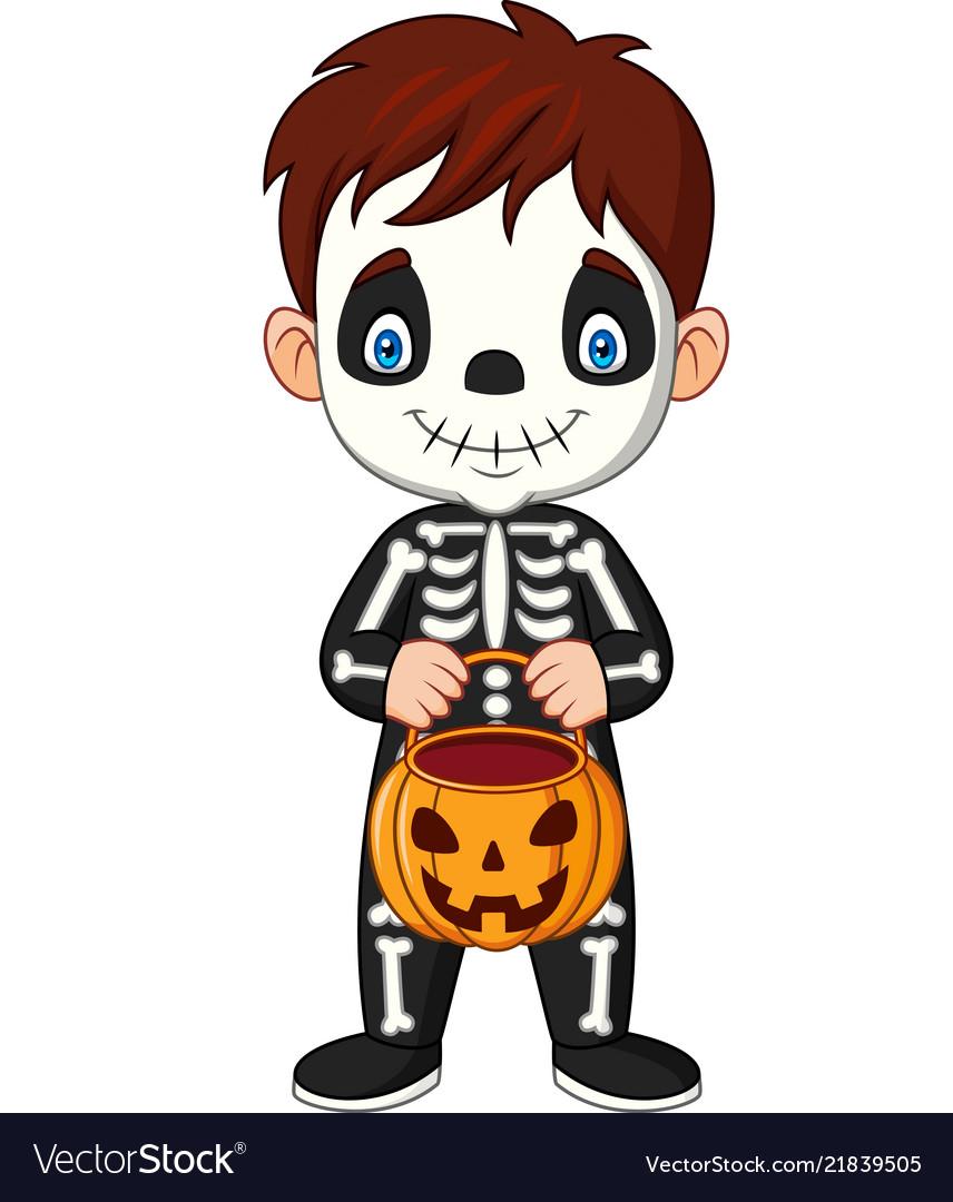 Cartoon kid with skeleton costume holding pumpkin