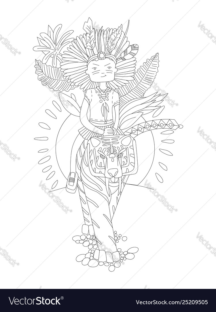 Cute hand draw coloring page with brave wild child