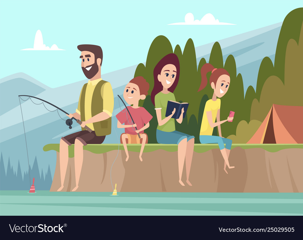 Family travellers couple outdoor explorers kids