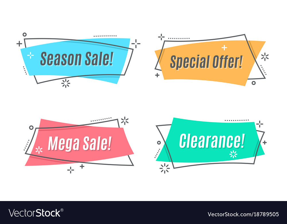 Flat Linear Promotion Ribbon Banner Scroll Price Vector Image On Vectorstock