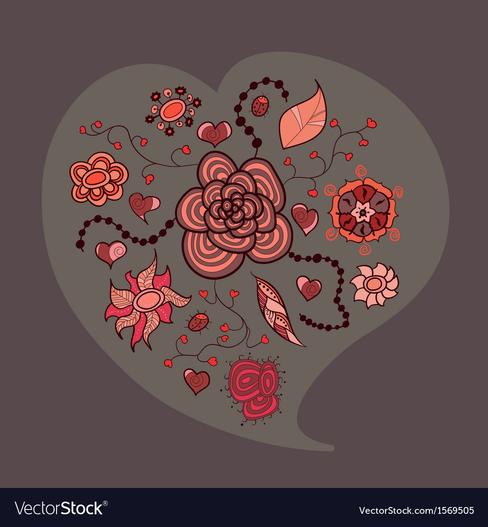 Heart from flowers leaves and insects vector image